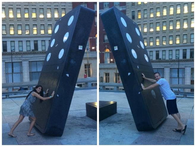 being silly with the life-size game pieces