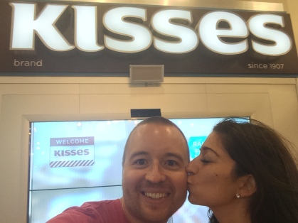 Get it? Kisses in front the Kisses sign?!