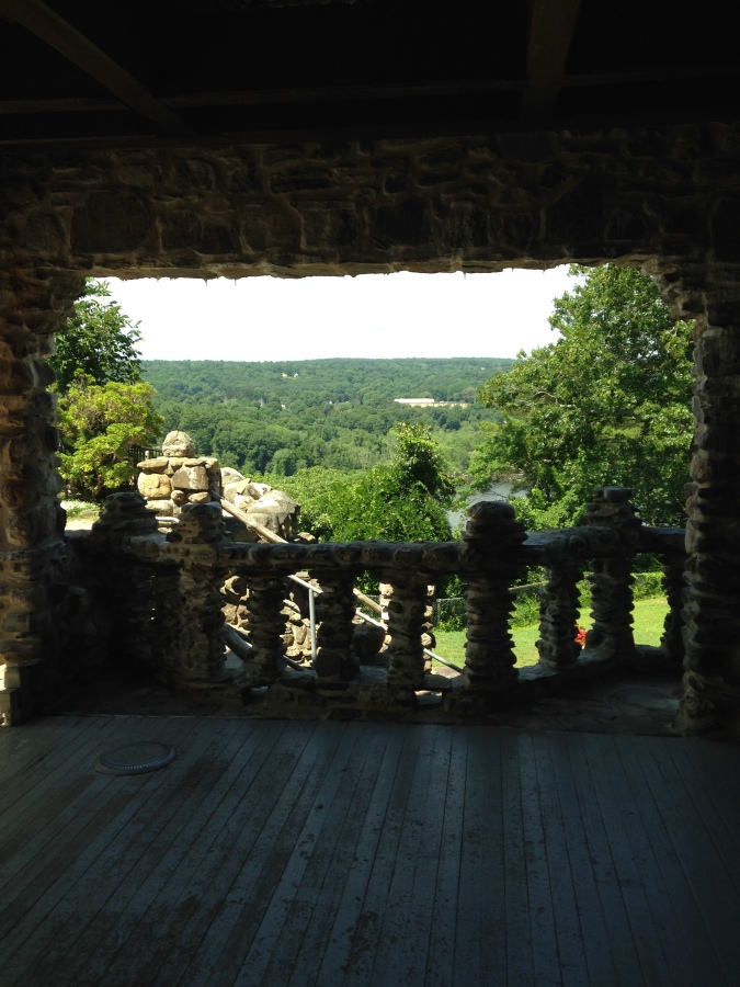 view out of a patio from the castle